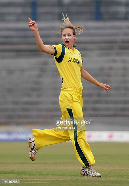 Ellyse Perry of Australia celebrates the wicket of Nahida Khan of Pakistan during the second match of ICC Womens World Cup between Australia and...