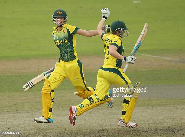 Ellyse Perry of Australia celebrates with Jess Cameron after hitting the winning runs to win the Final of the ICC Women's World Twenty20 Bangladesh...