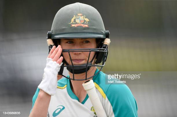 Ellyse Perry of Australia during a training session after a media opportunity ahead of the Women's International Test match between Australia and...