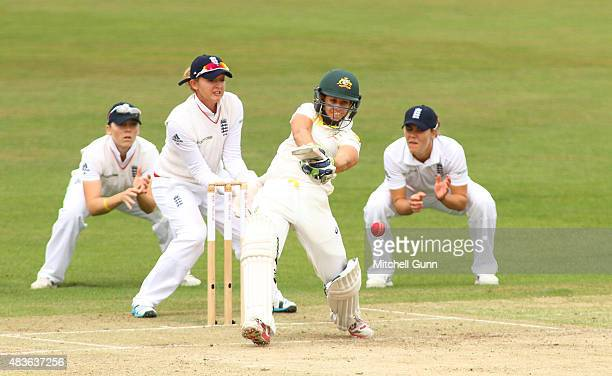Ellyse Perry of Australia hits out during day one of the Kia Women's Test of the Women's Ashes Series between England and Australia Women at The...