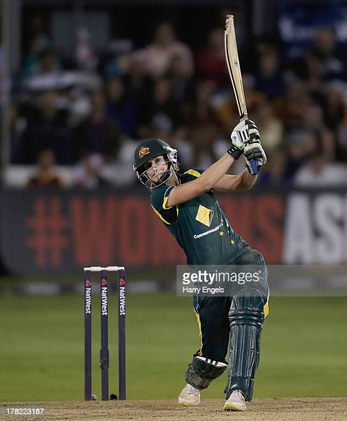 Ellyse Perry of Australia hits out during the first NatWest T20 match between England and Australia at the Ford County Ground on August 27 2013 in...