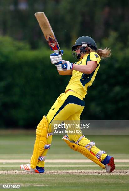 Ellyse Perry of Australia hits out during the ICC Women's World Cup warm up match between Australia and South Africa at Oakham School on June 20 2017...