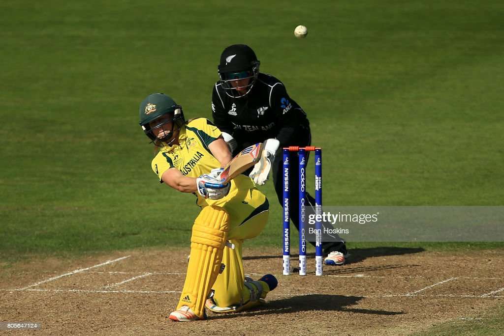 Ellyse Perry of Australia hits out during the ICC Women's World Cup 2017 match between Australia and New Zealand at The County Ground on July 2, 2017 in Bristol, England.