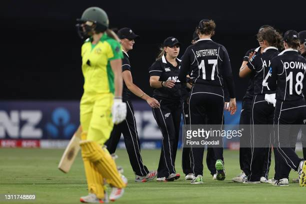 Ellyse Perry of Australia is dismissed as New Zealand celebrate during game three of the One Day International series between the New Zealand White...