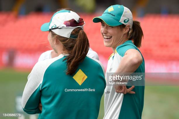 Ellyse Perry of Australia laughs during a training session after a media opportunity ahead of the Women's International Test match between Australia...