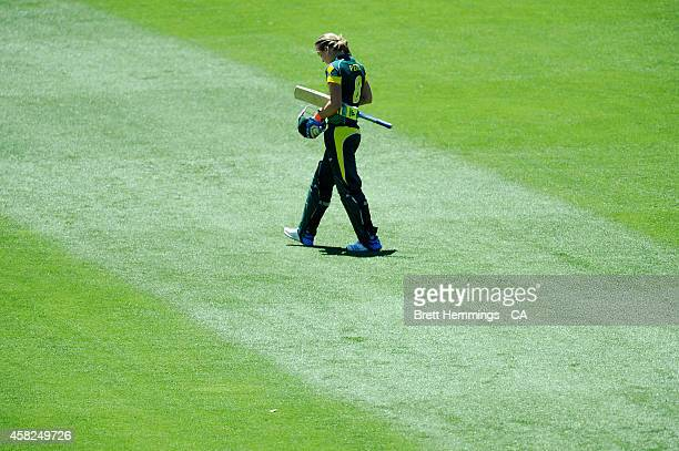 Ellyse Perry of Australia leaves the field after being dismissed by Anisa Mohammed of West Indies during the women's International Twenty20 match...