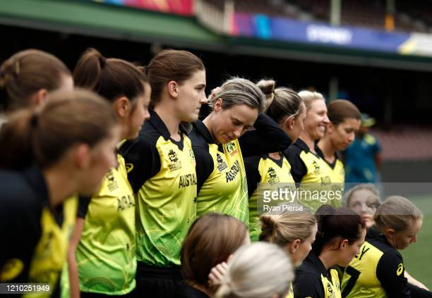 Ellyse Perry of Australia looks on during a team photo before an Australian nets session at Sydney Cricket Ground on March 04, 2020 in Sydney,...