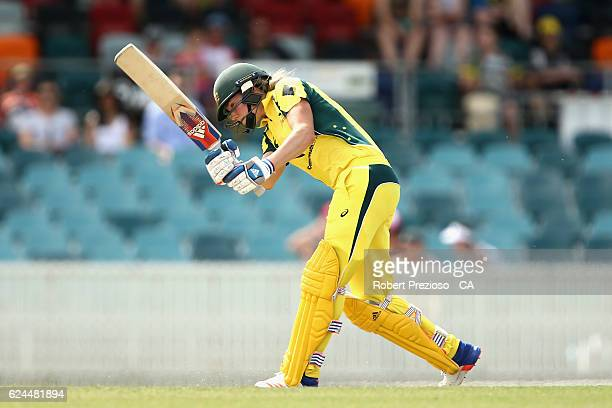 Ellyse Perry of Australia plays a shot during the women's one day international match between the Australia Southern Stars and South Africa at Manuka...