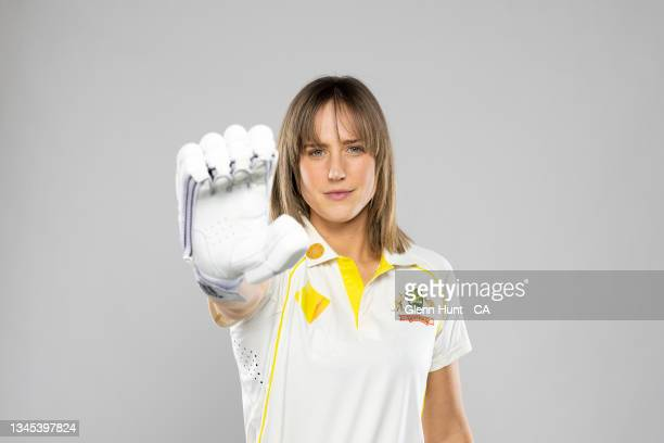 Ellyse Perry of Australia poses during the Australia Women's Cricket headshots session at the National Cricket Centre on September 14, 2021 in...
