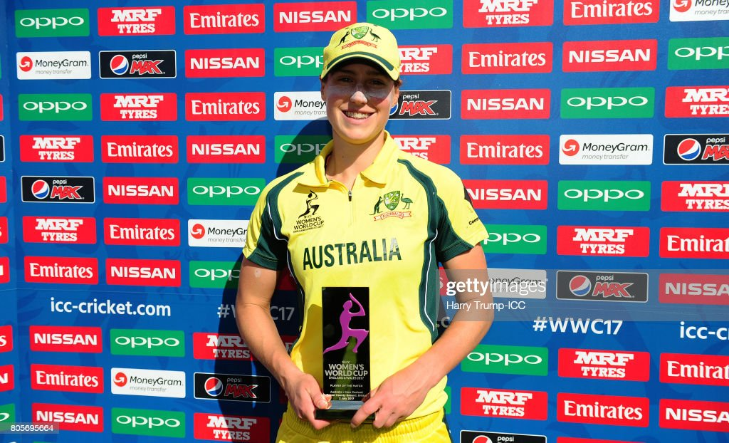 Ellyse Perry of Australia poses with the player of the match award during the ICC Women's World Cup 2017 match between Australia and New Zealand at The County Ground on July 2, 2017 in Bristol, England.