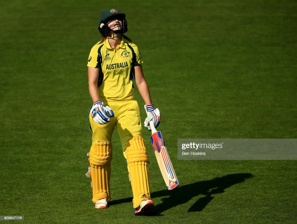 Ellyse Perry of Australia reacts after being dismissed during the ICC Women's World Cup 2017 match between Australia and New Zealand at The County Ground on July 2, 2017 in Bristol, England.