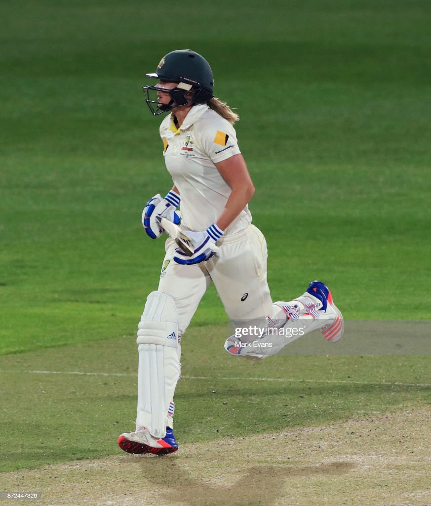 Ellyse Perry of Australia runs between wickets during day two of the Women's Test match between Australia and England at North Sydney Oval on November 10, 2017 in Sydney, Australia.