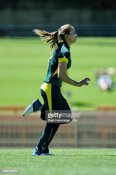 Ellyse Perry of Australia runs into bowl during the women's International Twenty20 match between Australia and the West Indies at North Sydney Oval...