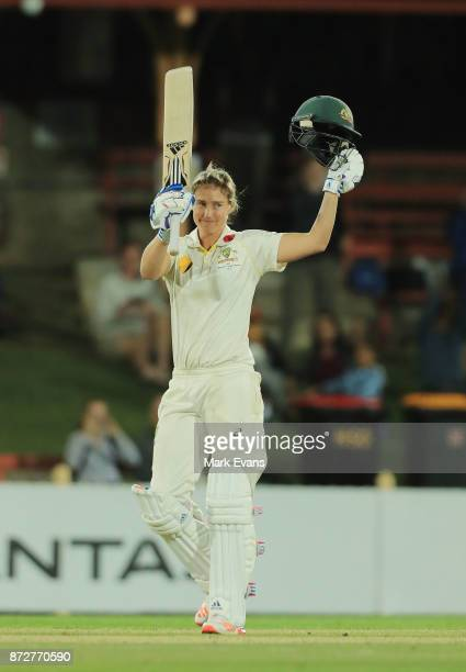 Ellyse Perry Of Australia Salutes The Crowd After Making 213 Runs Before Declared During Day