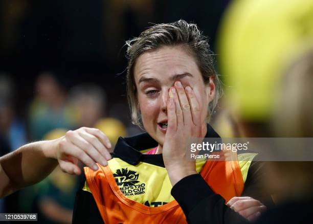 Ellyse Perry of Australia shows her emotions after Australia claimed victory during the ICC Women's T20 Cricket World Cup Semi Final match between...