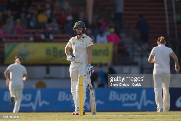 Ellyse Perry of Australia waits between overs during day three of the Women's Test match between Australia and England at North Sydney Oval on...