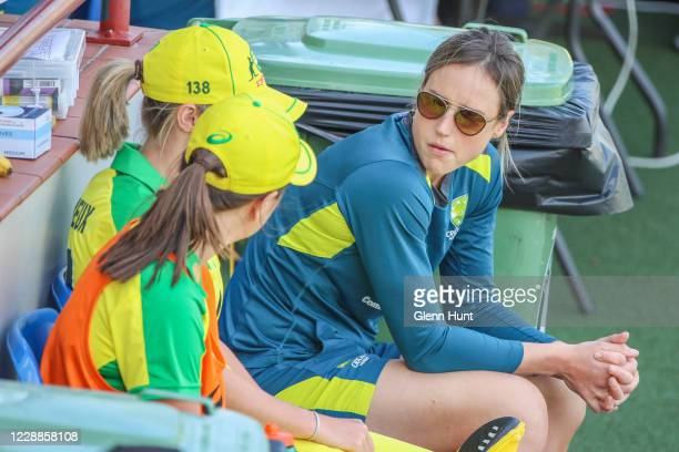 Ellyse Perry of Australia watches on from the sidelines during game one in the women's One Day International Series between Australia and New Zealand...