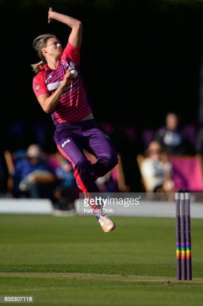 Ellyse Perry of Loughborough Lightning runs into bowl during the Kia Super League 2017 match between Loughborough Lightning and Yorkshire Diamonds at...