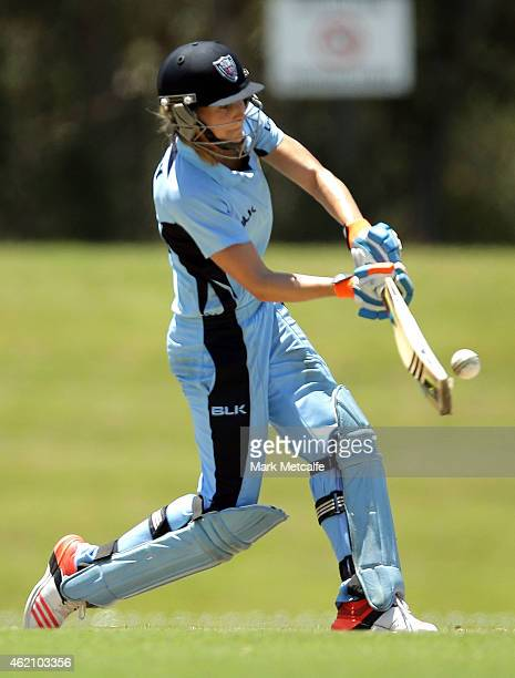 Ellyse Perry of the Breakers bats during the WNCL Final match between South Australia and New South Wales at Blacktown International Sportspark on...