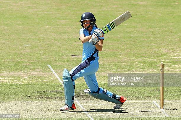 Ellyse Perry of the Breakers bats during the WNCL match between the ACT Meteors and New South Wales Breakers at Manuka Oval on November 21 2015 in...