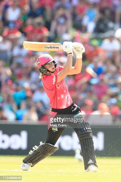 Ellyse Perry of the Sixers bats during the Women's Big Bash League Final between the Sydney Sixers and the Brisbane Heat at Drummoyne Oval on January...