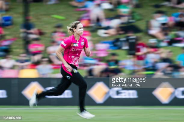 Ellyse Perry of the Sixers bowls during the Sixers win against the Renegades during the Women's Big Bash League Semi Finals on January 19 2019 in...