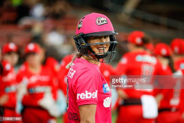 Ellyse Perry of the Sixers during the Women's Big Bash League WBBL match between the Sydney Sixers and the Melbourne Renegades at North Sydney Oval,...