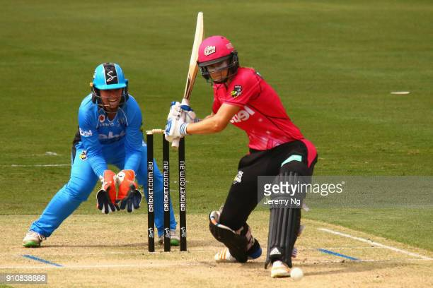 Ellyse Perry of the Sixers hits the ball during the Women's Big Bash League match between the Adelaide Strikers and the Sydney Sixers at Hurstville...