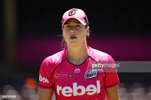 Ellyse Perry of the Sixers looks on before the Women's Big Bash League match between the Sydney Sixers and the Brisbane Heat at Sydney Cricket Ground...