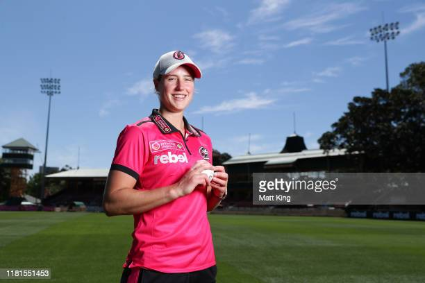 Ellyse Perry of the Sixers poses during the Women's Big Bash League media opportunity at North Sydney Oval on October 17 2019 in Sydney Australia