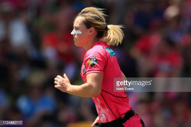 Ellyse Perry of the Sixers runs in to bowl during the Women's Big Bash League Final between the Sydney Sixers and the Brisbane Heat at Drummoyne Oval...