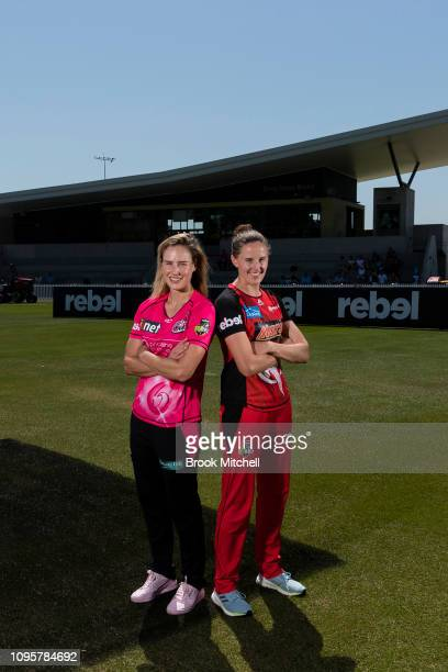 Ellyse Perry of the Sydney Sixers and Amy Satterthwaite of the Melbourne Renegades pose during the Women's Big Bash League media opportunity at...