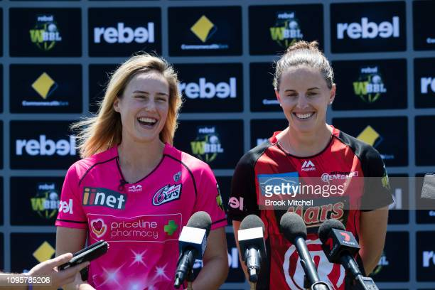 Ellyse Perry of the Sydney Sixers and Amy Satterthwaite of the Melbourne Renegades talk to the media during the Women's Big Bash League media...