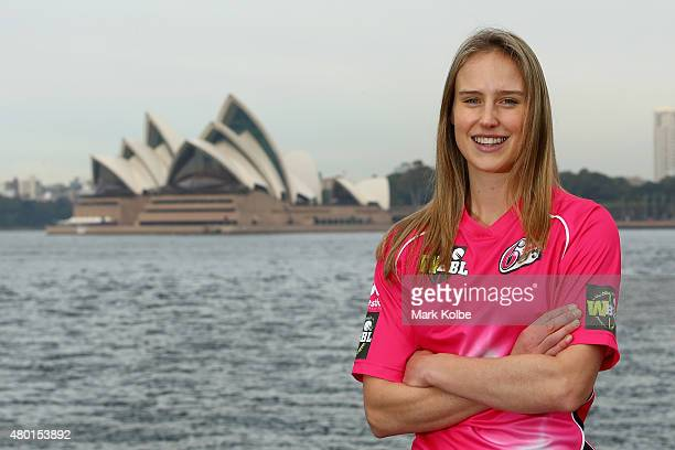 Ellyse Perry of the Sydney Sixers poses during the Women's Big Bash League season launch at Luna Park on July 10 2015 in Sydney Australia