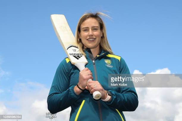 Ellyse Perry poses during a Australian Women's Cricket Media Opportunity at North Sydney Oval on September 25 2018 in Sydney Australia