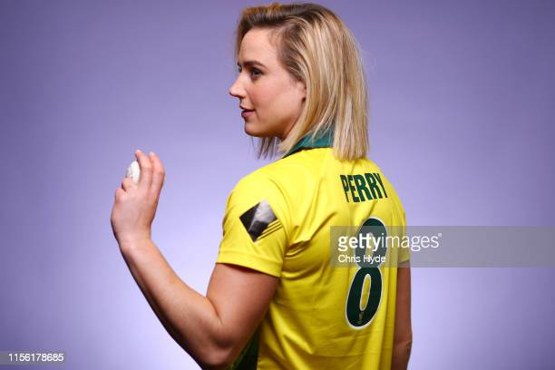 Ellyse Perry poses during an Australian women's national cricket team portrait session at the National Cricket Centre of Excellence on June 15 2019...