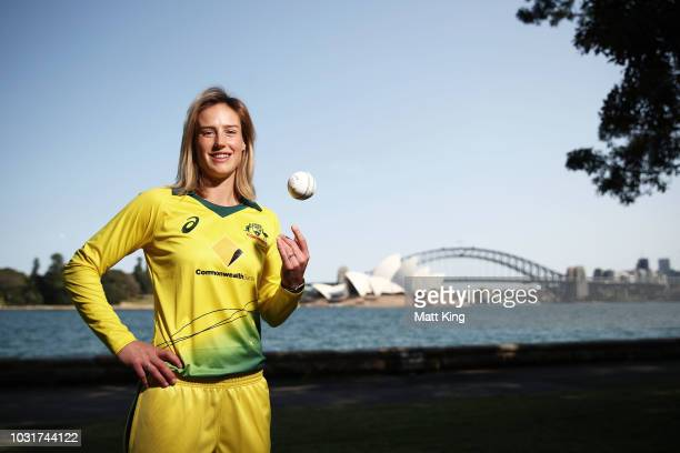 Ellyse Perry poses during the Australian International Squad Announcement at the Fleet Steps on September 12 2018 in Sydney Australia