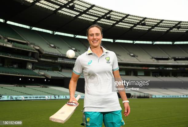Ellyse Perry poses during the launch of THE RECORD documentary by Amazon Prime featuring the Australian Women's cricket team's successful 2020...