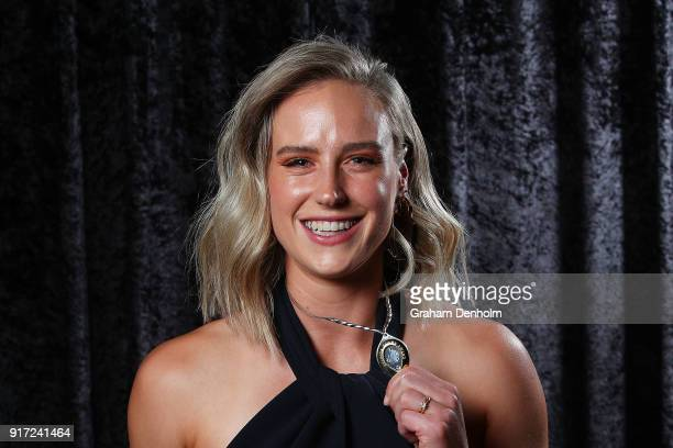 Ellyse Perry poses with the Belinda Clark Award during the 2018 Allan Border Medal at Crown Palladium on February 12 2018 in Melbourne Australia
