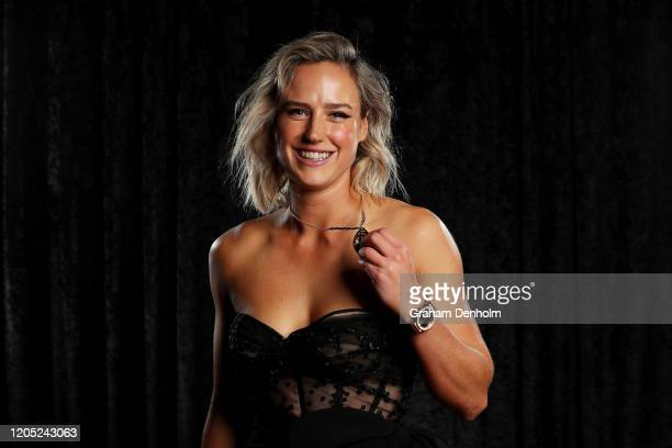 Ellyse Perry poses with the Belinda Clark Award during the 2020 Cricket Australia Awards at Crown Palladium on February 10 2020 in Melbourne Australia