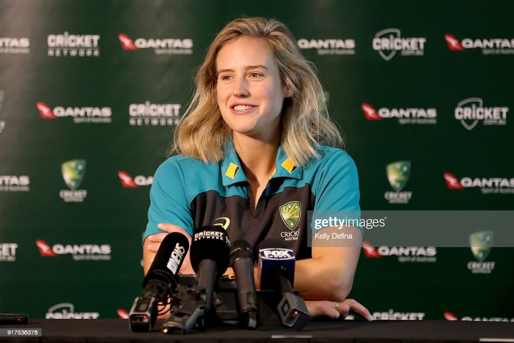 Ellyse Perry speaks to the media during a press conference at Quay West Hotel on February 13, 2018 in Melbourne, Australia.