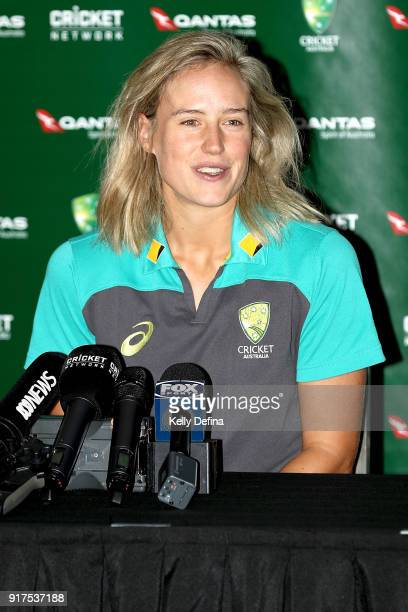 Ellyse Perry speaks to the media during a press conference at Quay West Hotel on February 13 2018 in Melbourne Australia