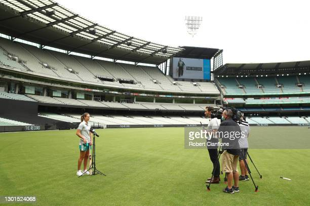Ellyse Perry speaks to the media during the launch of THE RECORD documentary by Amazon Prime featuring the Australian Women's cricket team's...