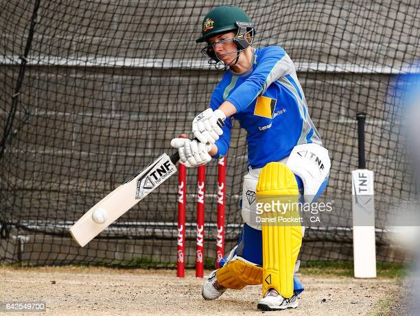 Ellyse Villani hits the ball during a Southern Stars training session at Melbourne Cricket Ground on February 18 2017 in Melbourne Australia