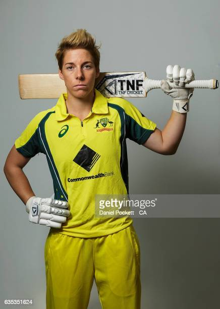 Ellyse Villani poses during the Southern Stars Twenty20 Headshots Session on February 14 2017 in Melbourne Australia