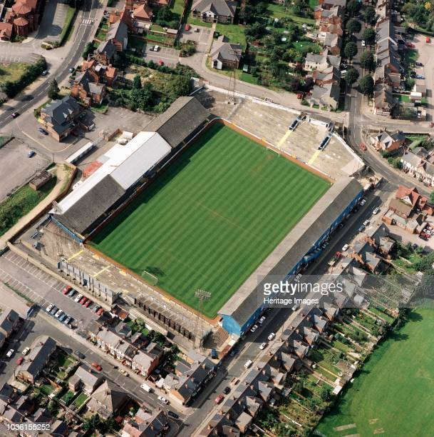 Elm Park, Reading, Berkshire, 1992. Aerial view of the former home of Reading Football Club. John Madejski bought the club in 1991 and under Mark...