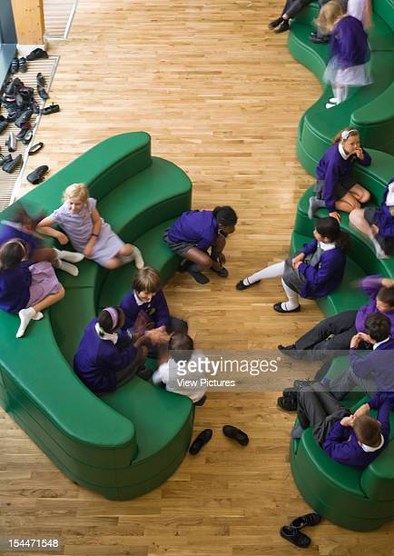 Elm Park School Havering Essex Walters And Cohen High Angle View Downward To Informal Seating Lounge With Students Walters And Cohen United Kingdom...