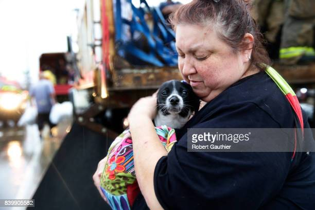 Elma Moreno comforts her dog Simon as they are loaded on to a trucks after being evacuated from their flooded apartment Tropical Storm Harvey is...