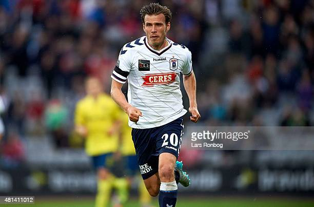 Elmar Bjarnason of AGF Aarhus in action during the Danish Alka Superliga match between AGF Aarhus and Brondby IF at Cere Park on July 19 2015 in...
