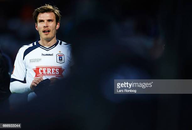Elmar Bjarnason of AGF Aarhus looks on during the Danish Alka Superliga match between AGF Aarhus and Silkeborg IF at Ceres Park on April 10 2017 in...
